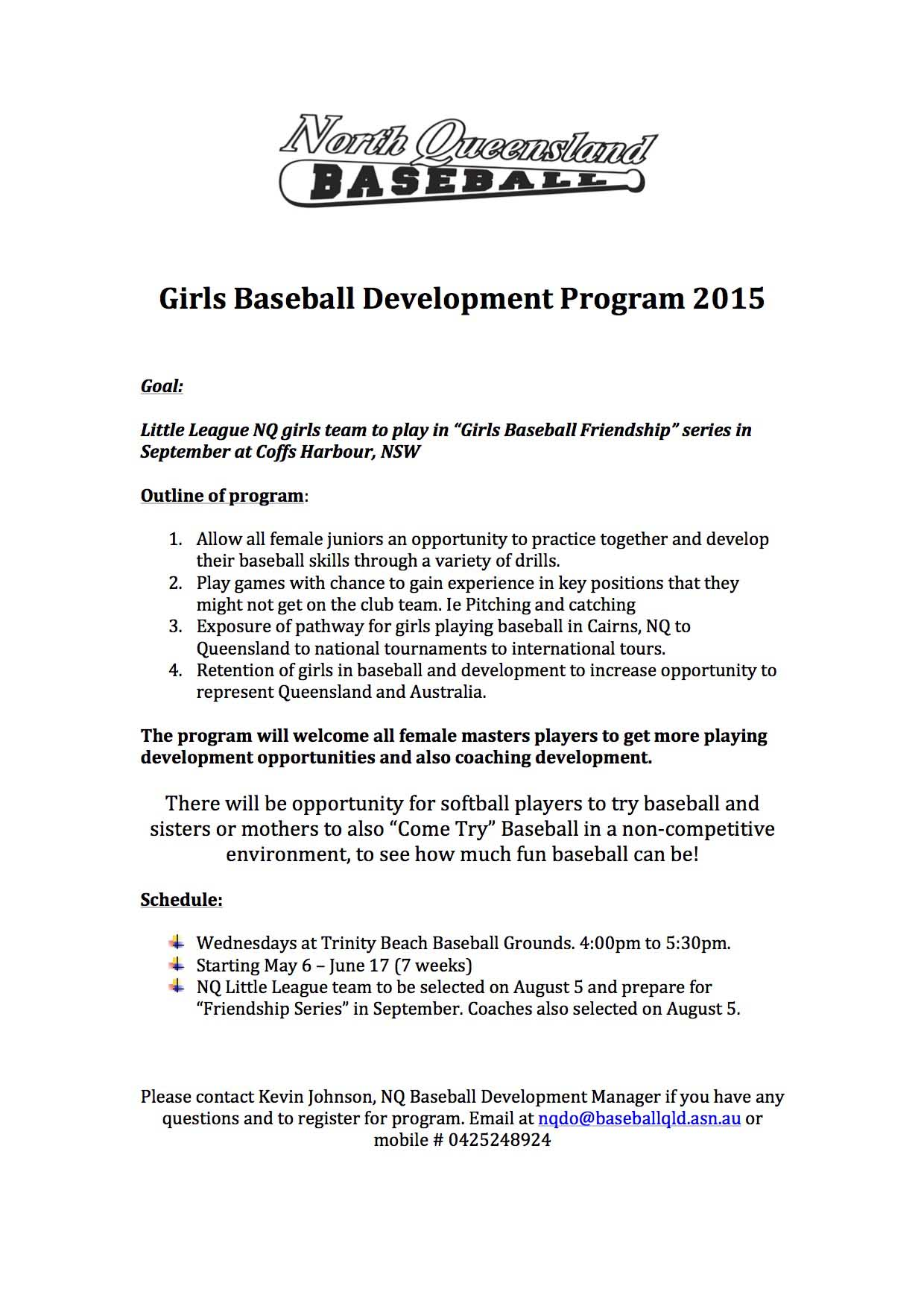 Girls Baseball Development Program 2015